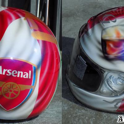 Arsenal Custom Airbrushed Motorbike Helmet By Anexitilon