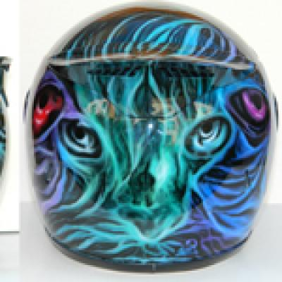 Cats Helmet Panoramic By Savvas Koureas 5 2014 Graphic Airbrushing