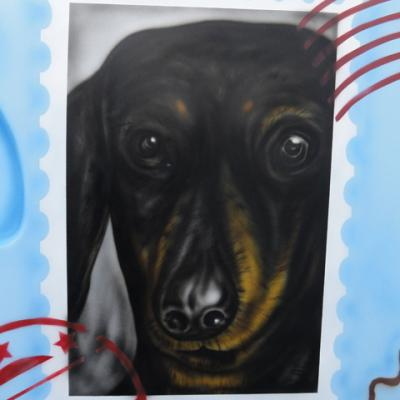 Dog Airbrushing By S. Koureas Www.anexitilon Art.com Postal Stamp
