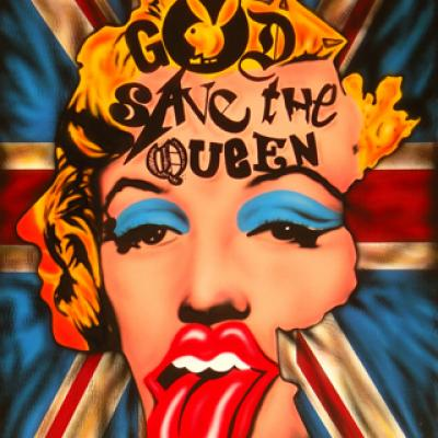 God Save The Queen 60x90cm By Savvas Koureas 7 2014 Airbrushing Illustration