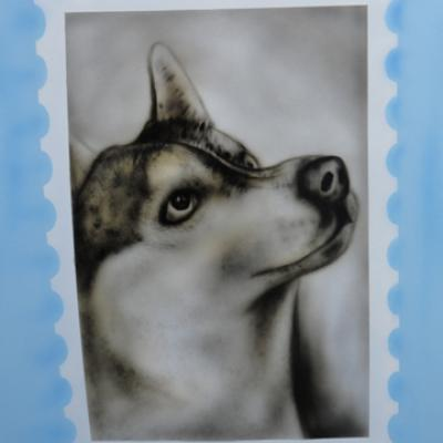Husky Dog Airbrushing By S. Koureas Www.anexitilon Art.com Freehand Art