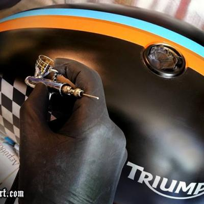 Triumph Gas Tank Airbrushing By Anexitilon