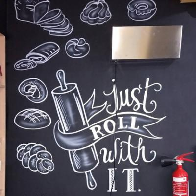 Bakery Delicatessen Freehand Chalk Calligraphy Lettering Art By Anexitilon