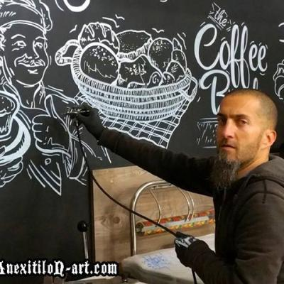 Chalk Board Airbrush Painting Process By Anexitilon