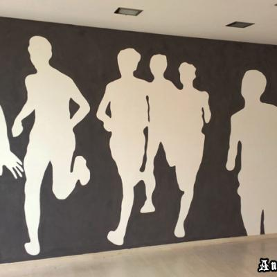 Runners Athletes Gym Mural Minimal Graffiti By Anexitilon
