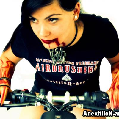 Airbrushed Model Riding A Bike By Anexitilon