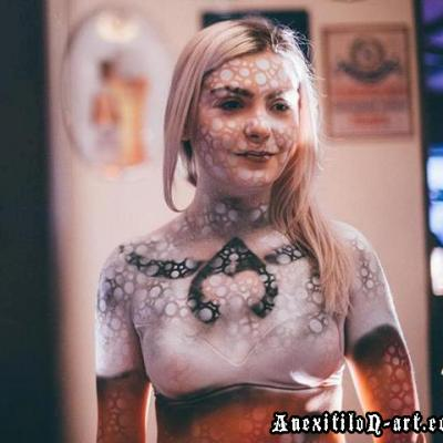 Beer Glass Girl Airbrushing Body Art By Anexitilon