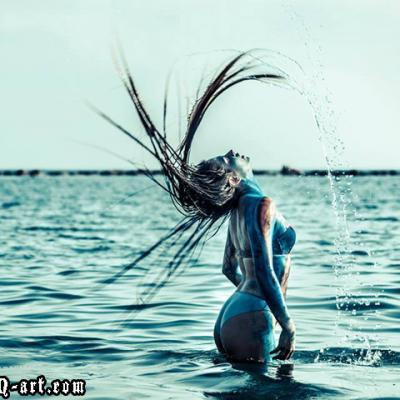 Bodypainting Sea Hair Throwing Body Art By Anexitilon