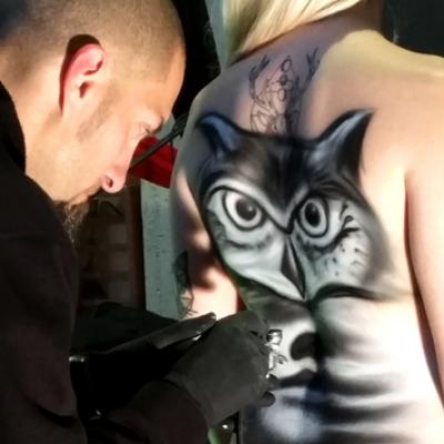 Live Airbrushing Owl Body Art By Anexitilon