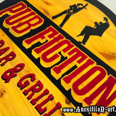 Pub Fiction Bar And Grill Classic Wooden Sign By Anexitilon Savvas Koureas