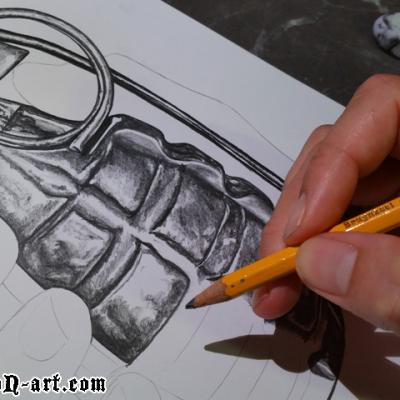 Sketching The Grenade Art By Anexitilon For The Sacred Tooth Brand