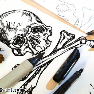 Skull Drawing Art By Anexitilon For The Sacred Tooth Brand