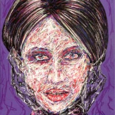 Dona Victoria By Savvas Koureas 1 2011 24x30 Cm Markerstriping On Canvas Panel
