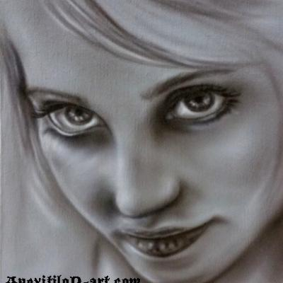 Female Portrait Airbrush On Canvas Board By Anexitilon