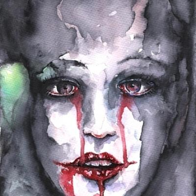 My Bleeding Bride By S.koureas Www.anexitilon Art.com Watercolor On Paper