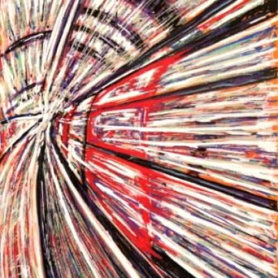Rush In The Tube By Savvas Koureas 11 2010 24x30 Cm Markerstriping On Canvas Panel