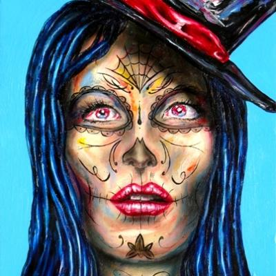 Santa Muerte Girl By Savvas Koureas 7 2013 52x62 Cm Acrylic On Canvas