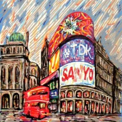 The Wet Picadilly By Savvas Koureas 11 2010 24x30 Cm Markerstriping On Canvas Panel